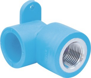 PE Water S/F Male Thread Elbow with Base(Metal Insert) Blue