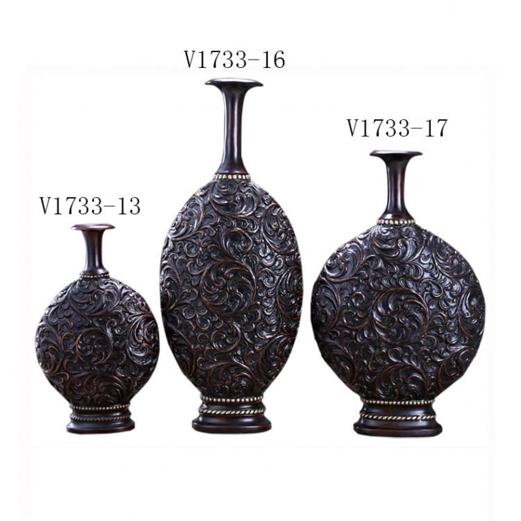 Antique Embossed Maroon Flower Vase