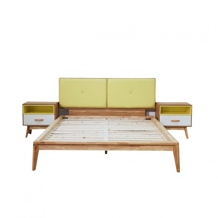 LESSO HOME Platform Queen Size Bed, Veneer Oak