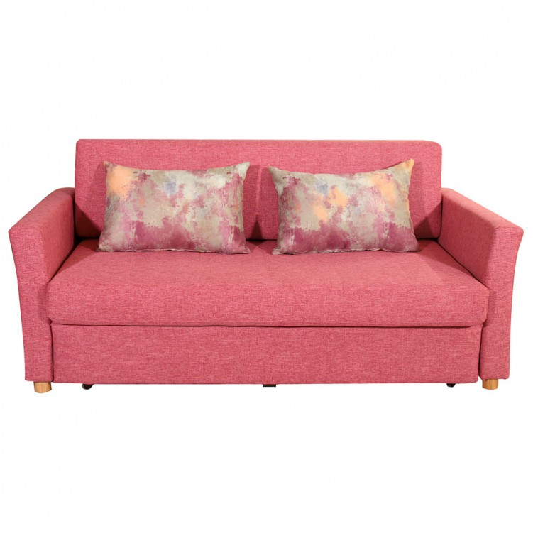 LESSO HOME Folding Sofa Bed, 2 Seater Pink Fabric