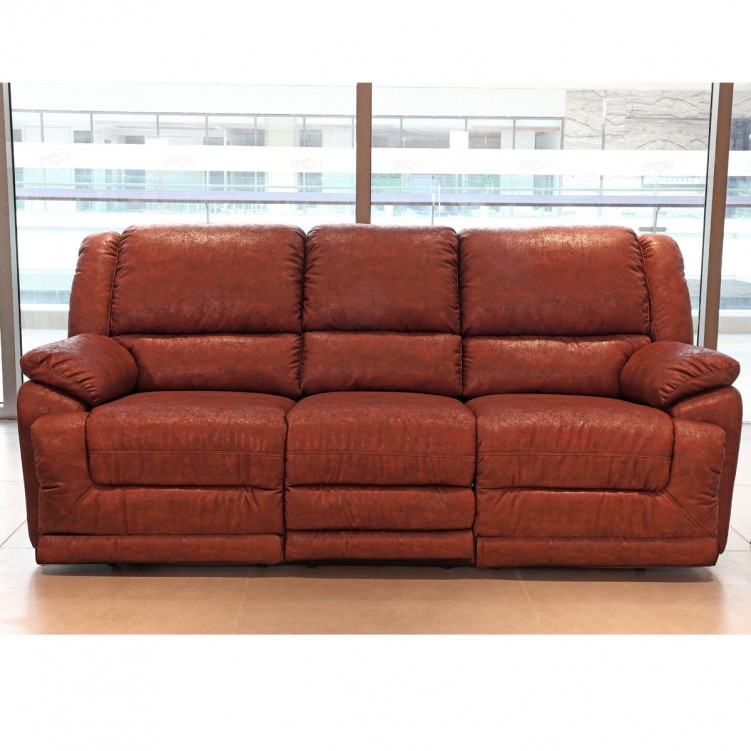 LESSO HOME Reclining Red Leather Sofa Set