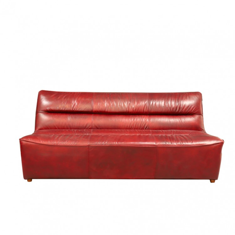 Lesso Home Red Leather 3 Seater Slipper