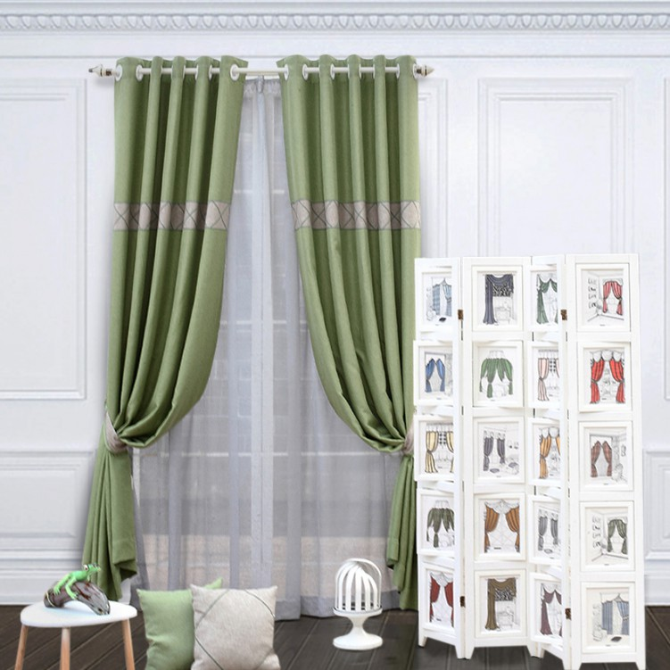 Green & Grey Stitched Embroidery Curtain