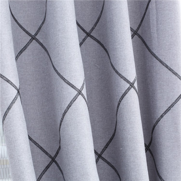 Grey Stitched Embroidery Curtain