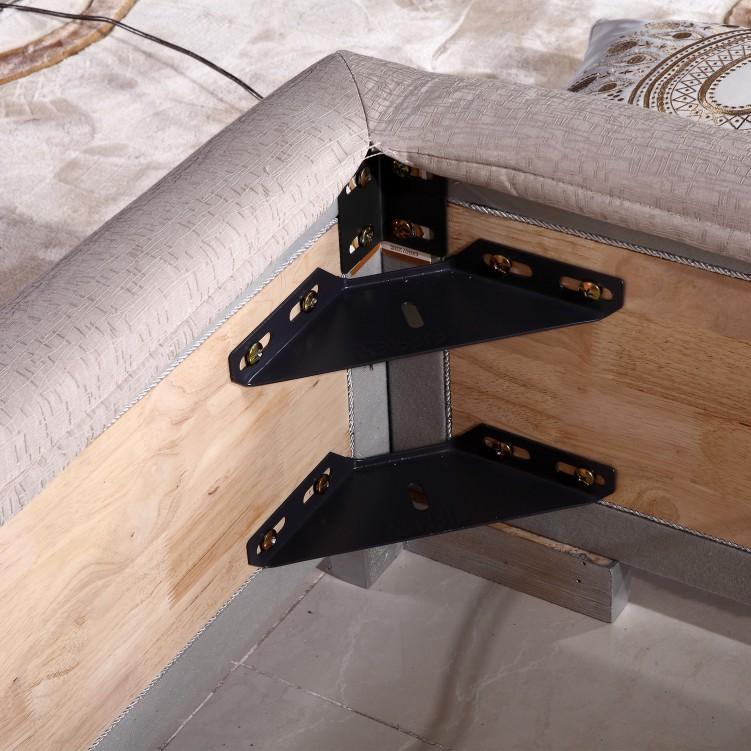 Grey Checked Fabric Platform Bed
