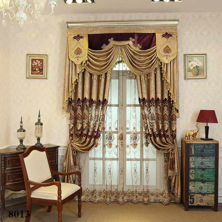 Simple European Style Gold Chenille Jacquard Curtain
