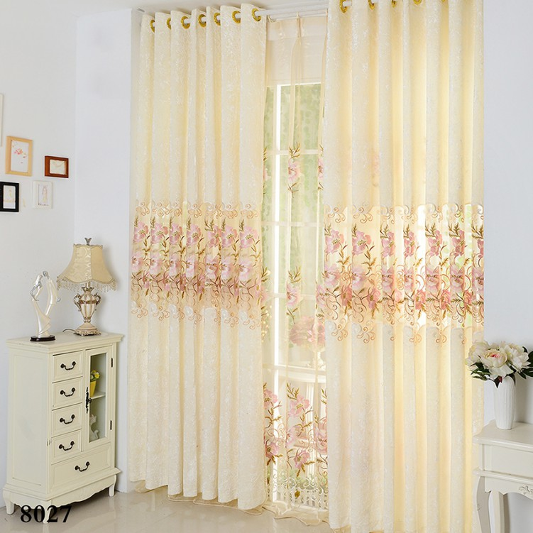 Simple Chinese Style Beige Ice Velvet Curtain