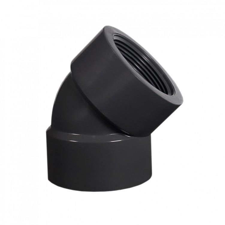ASTM PVC Water SCH80 45°Ell (FXF) Dark Grey