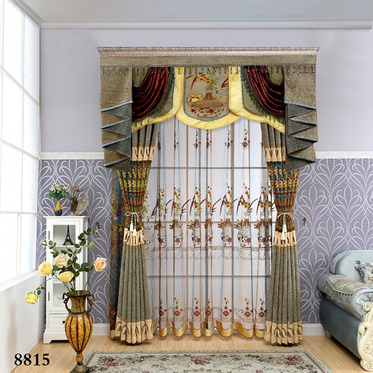Chinese Style Brown & Blue Chenille Curtain