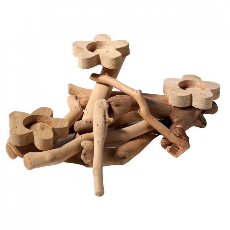Wooden Flower 3-Candle Holder