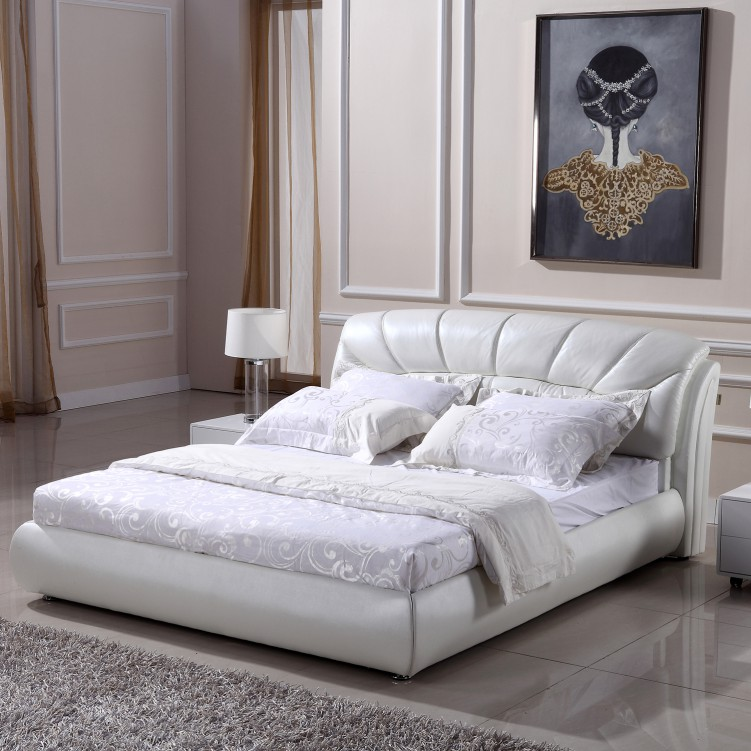 Checked White Leather Platform Bed