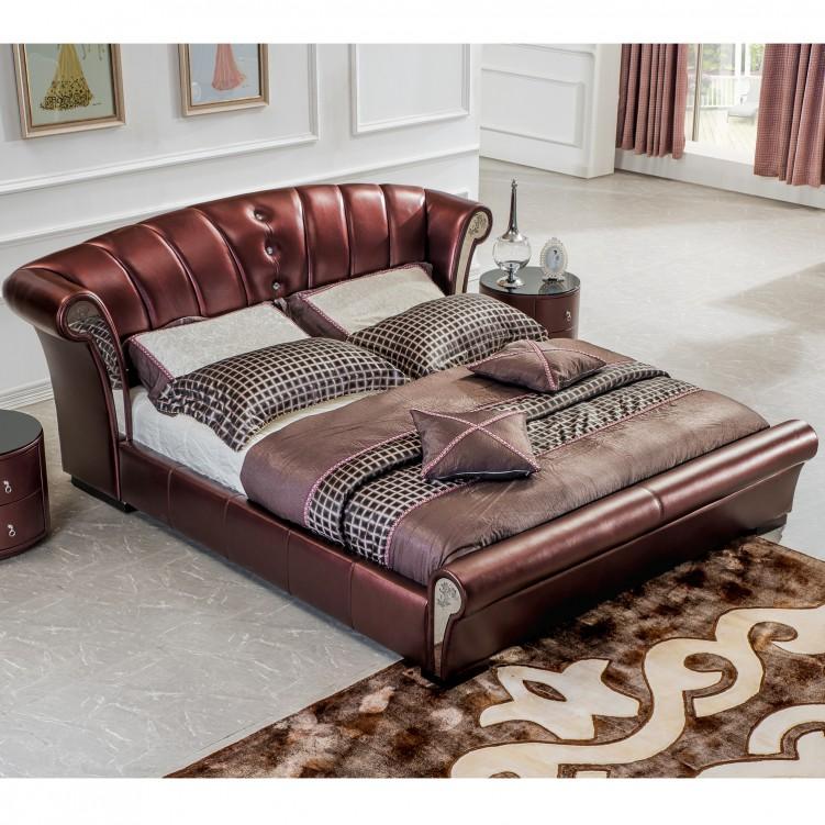 Luxury Brown Leather Platform Bed