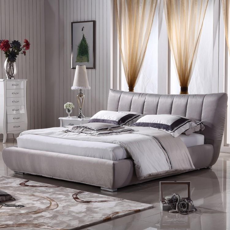 8 Strip Grey  Fabric Platform Bed