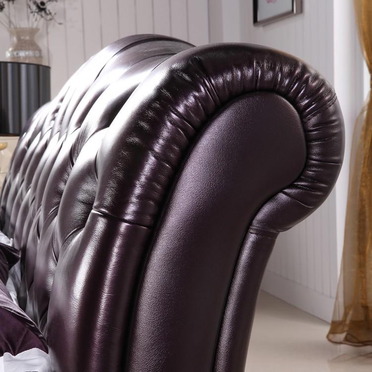 Button Back Brown Leather Platform Bed