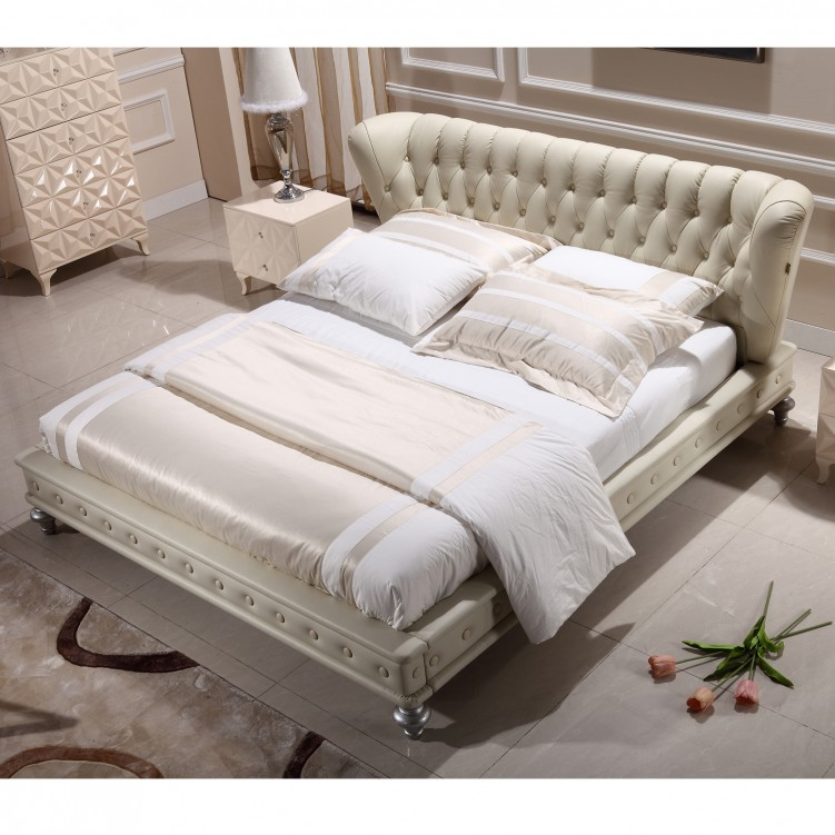 Beige Leather Platform Bed
