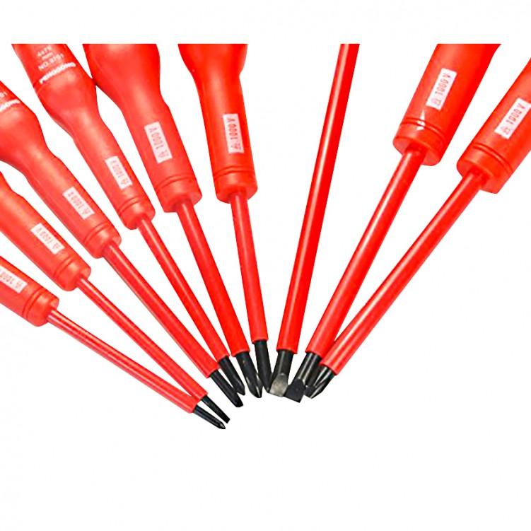 9pcs Electrical Screwdriver Set with Bag 1000V Red & Black