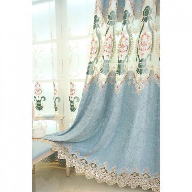 Simple European Style Blue Chenille Curtain