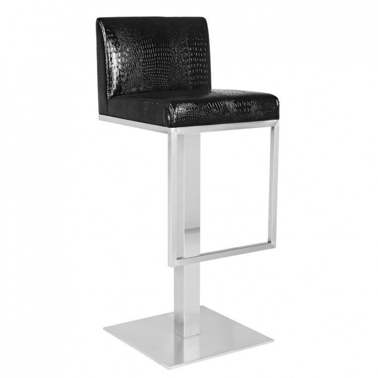 Black Leather Counter Height Low Back Bar Stool with Footrest
