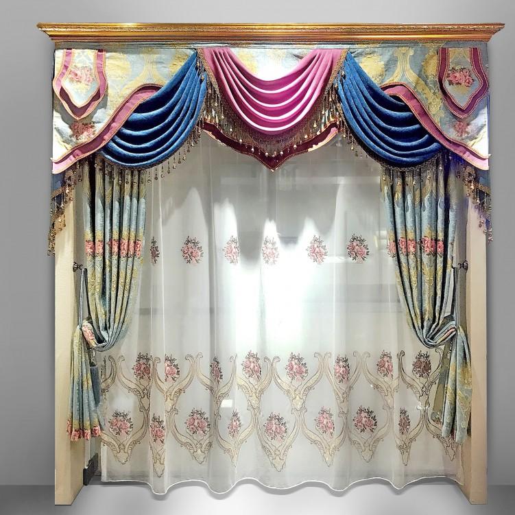 European Style Blue Chenille Curtain Set