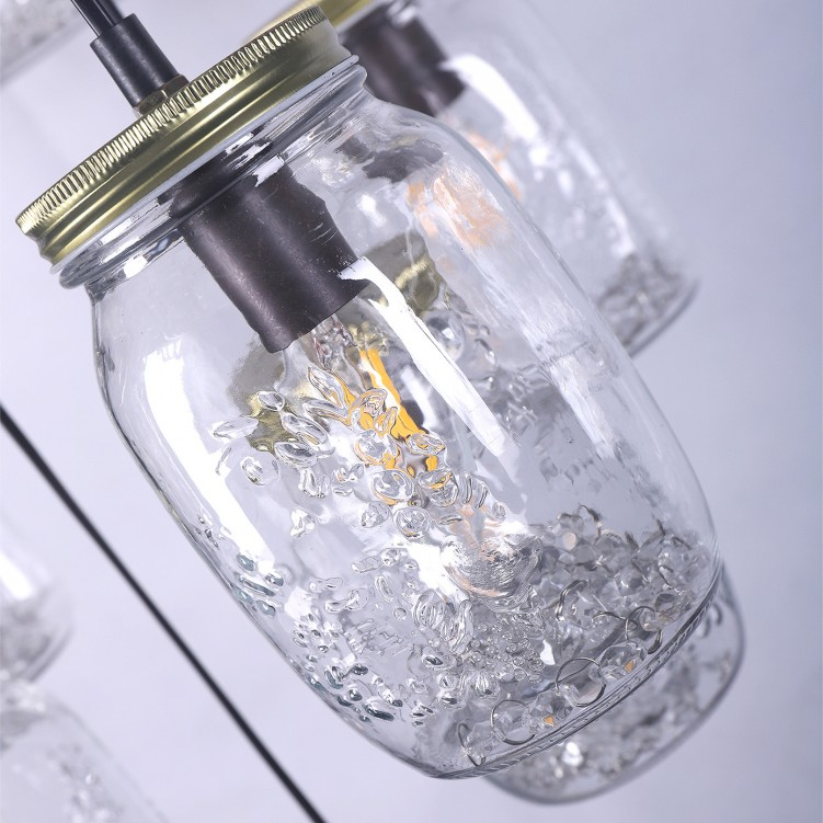 15 Clear Glass Bottle Pendant Light with Antique Brass Cap