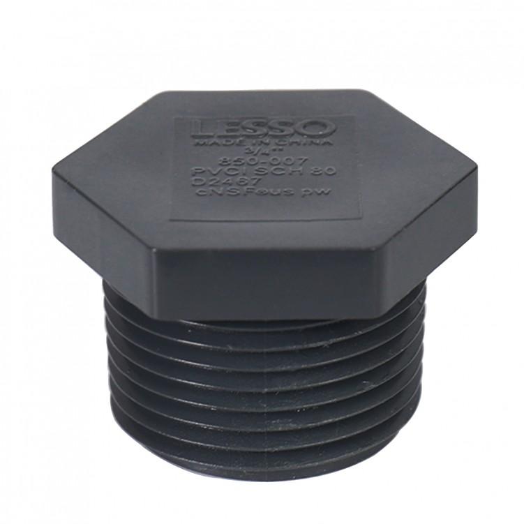 ASTM PVC Water SCH80 Plug (FIPT) Dark Gray