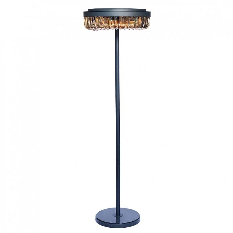 E12 Light Source & K9 Amber Crystal Satin Black Floor Lamp