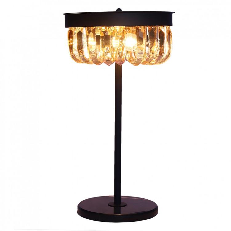 E12 Light Source & K9 Amber Crystal Satin Black Reading Light