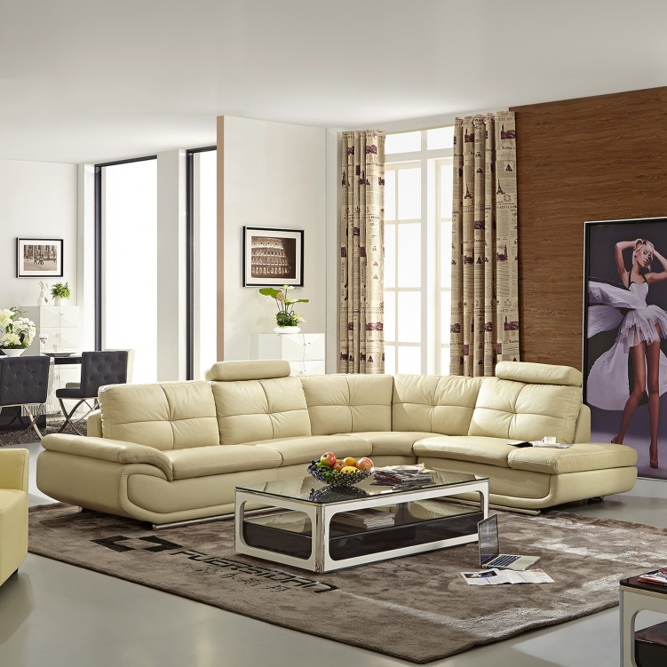 LESSO HOME 5 Seater Sleeper Sectional,  Beige Leather