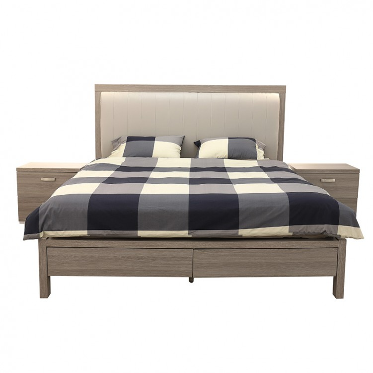 LESSO HOME Taupe Platform Bed with Storage