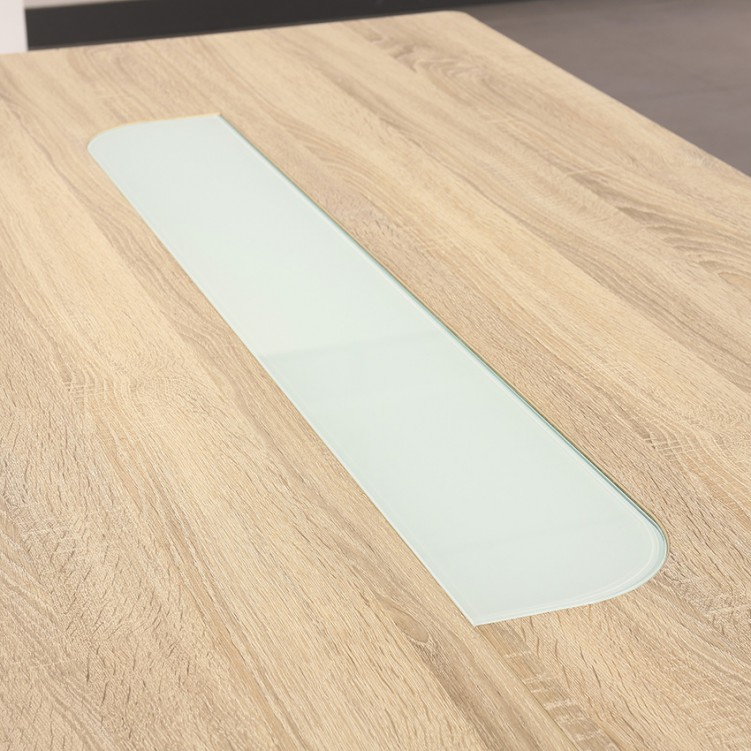 LESSO HOME MDF Oak Dining Table, High Gloss PU Painting