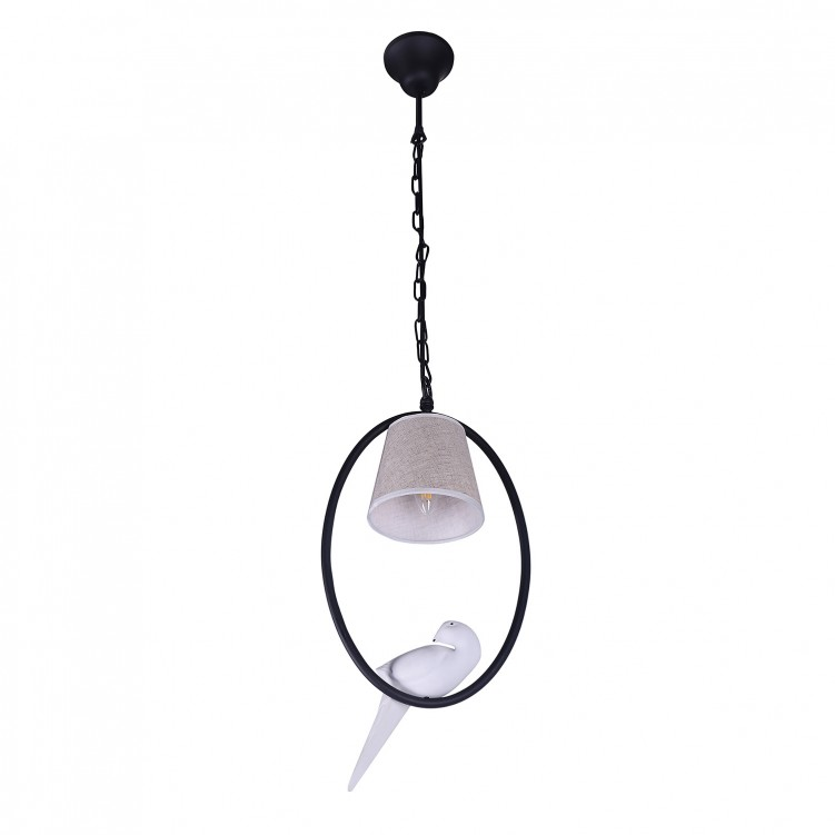 Matt Black Iron Ring Pendant Light with Fabric Shade Bird