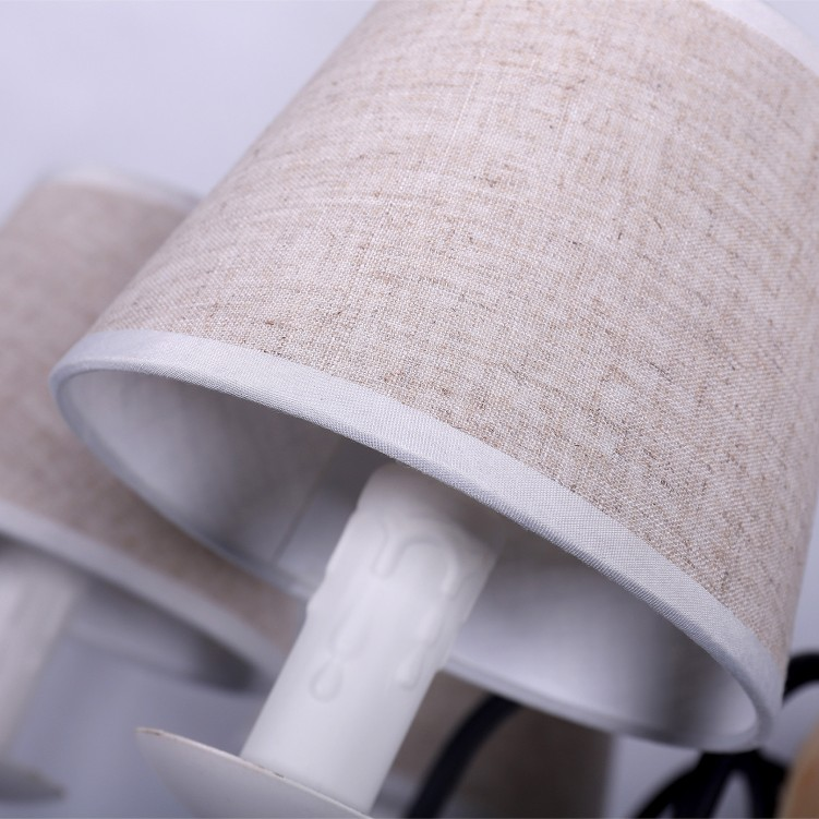 Matt Black Pendant Light with Three Fabric Shade Bird