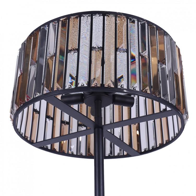 Metal Satin Black & Clear-Amber K9 Crystal Floor Lamp