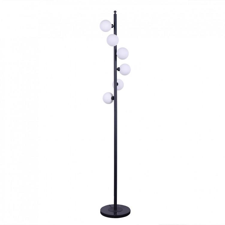 Metal Satin Black & White Glass Floor Lamps