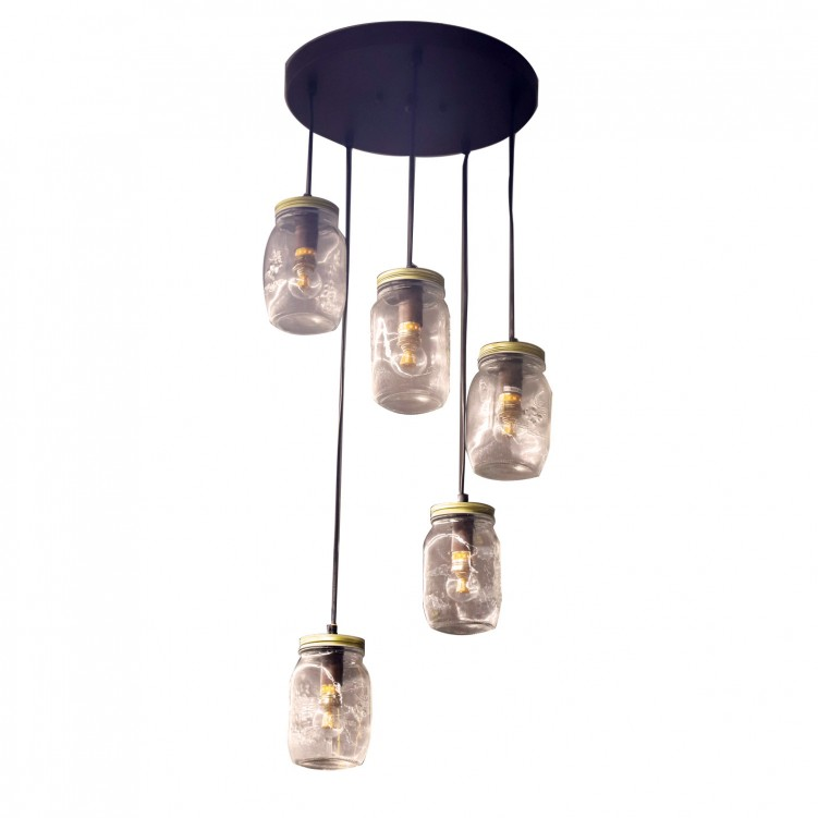 Modern Metal Clear Glass Bottle Celling Light