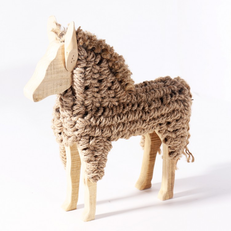 Wooden Craft Lovely Horse Table Decor