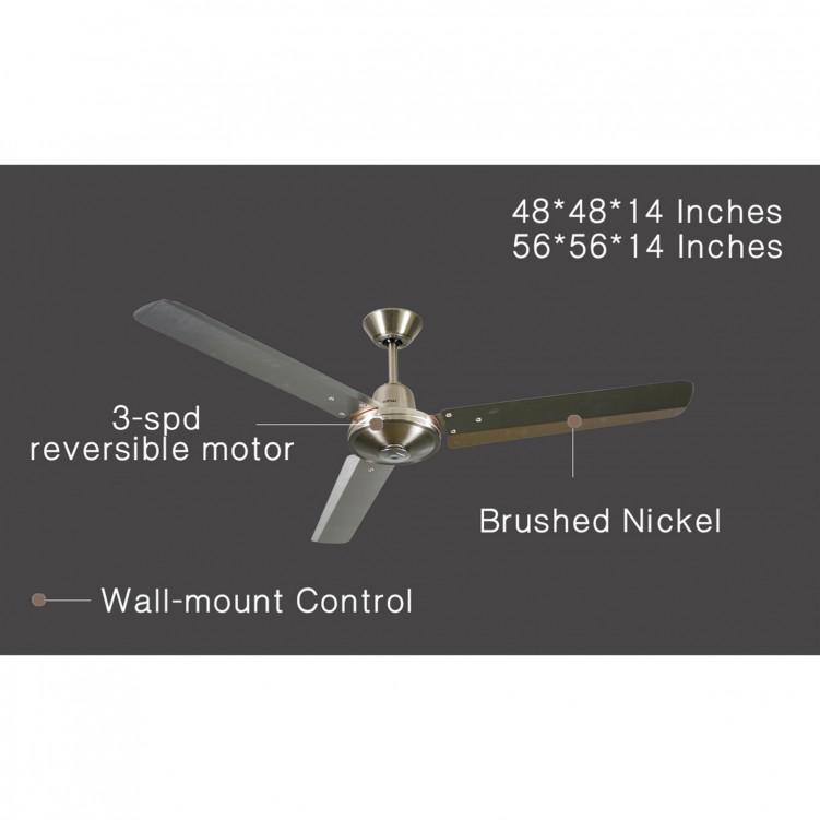 1.89mm Industrial Ceiling Fan,Brushed Nickel