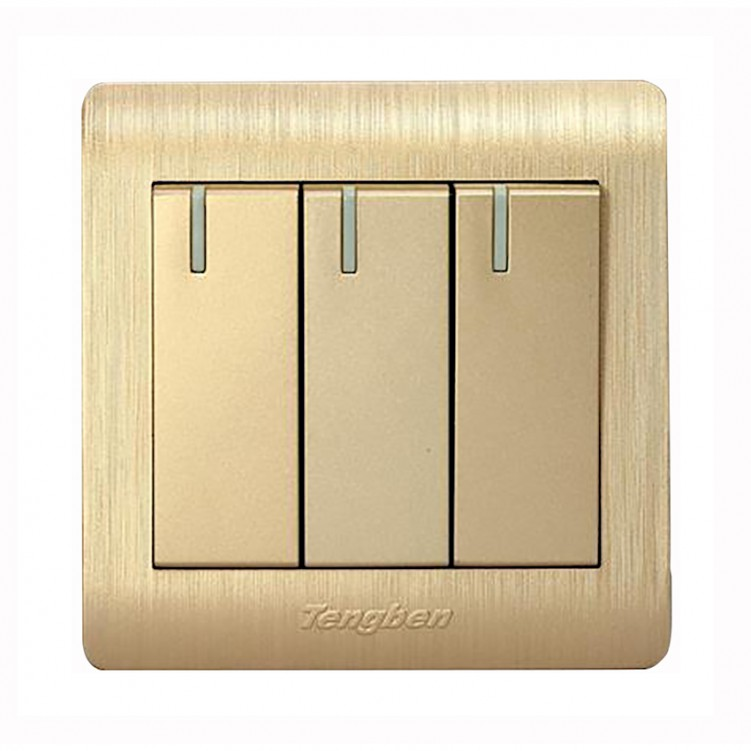 3 Gang/1 Way Switch with Large Fluorescent Plate 16A