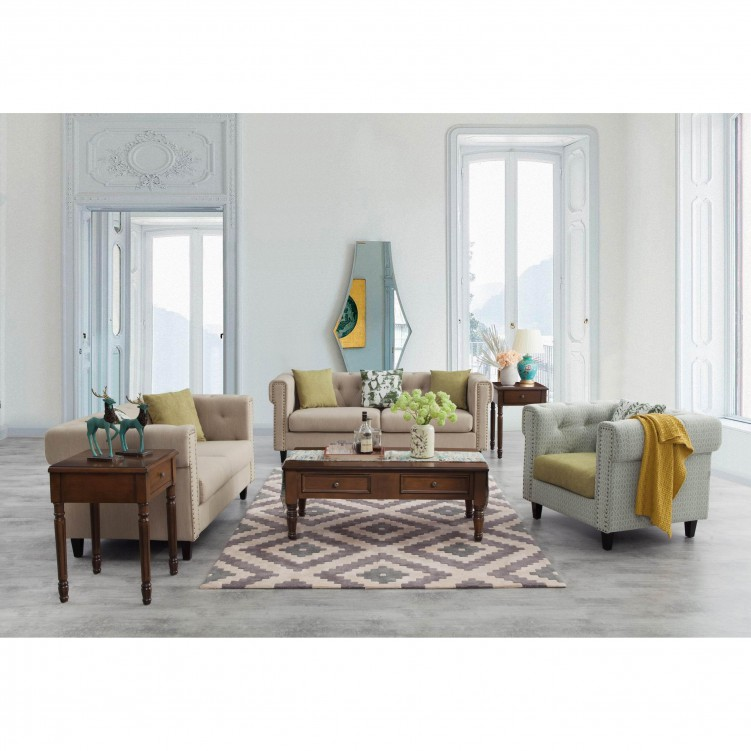 LESSO HOME 2 Seater Button Back Barrel Sofa,  Beige Fabric