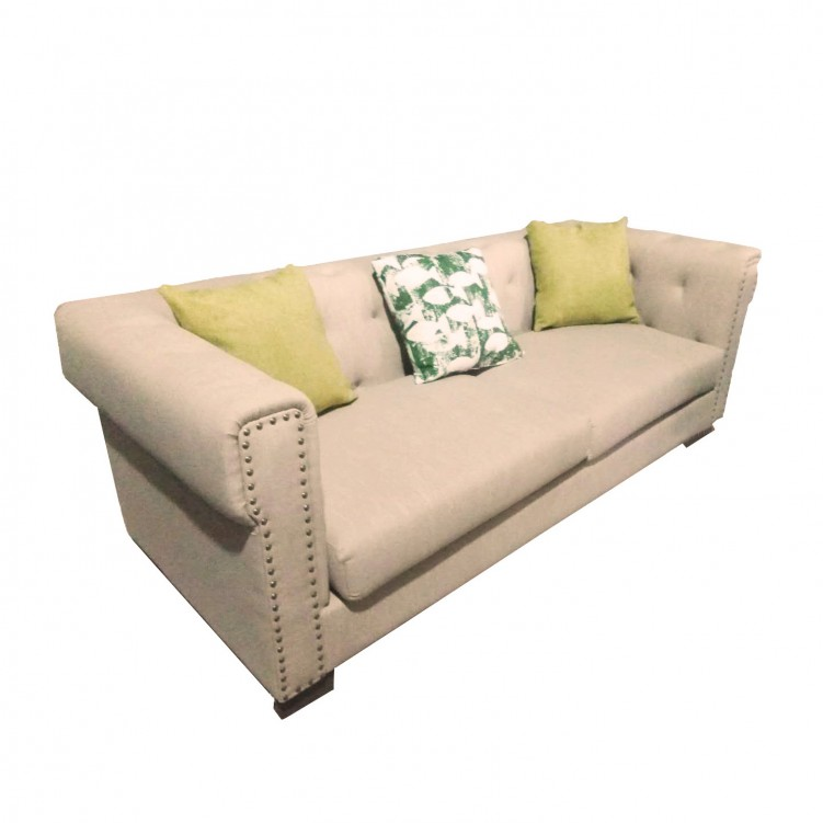 LESSO HOME 3 Seater Button Back Barrel Sofa,  Beige Fabric