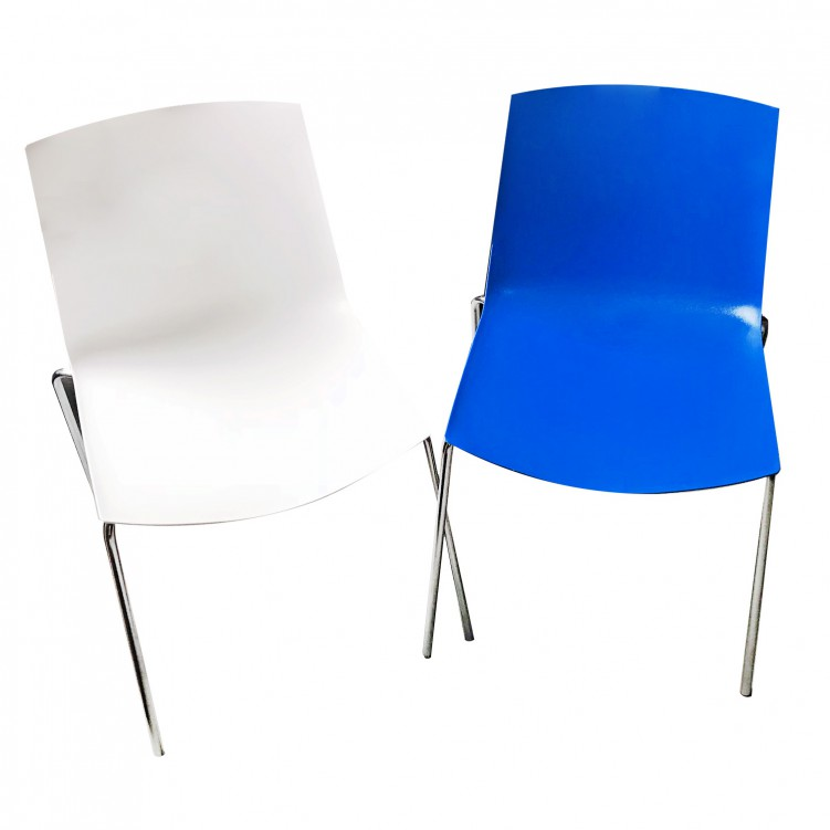 LESSO HOME Blue Plastic  Side Chair with Steel Legs