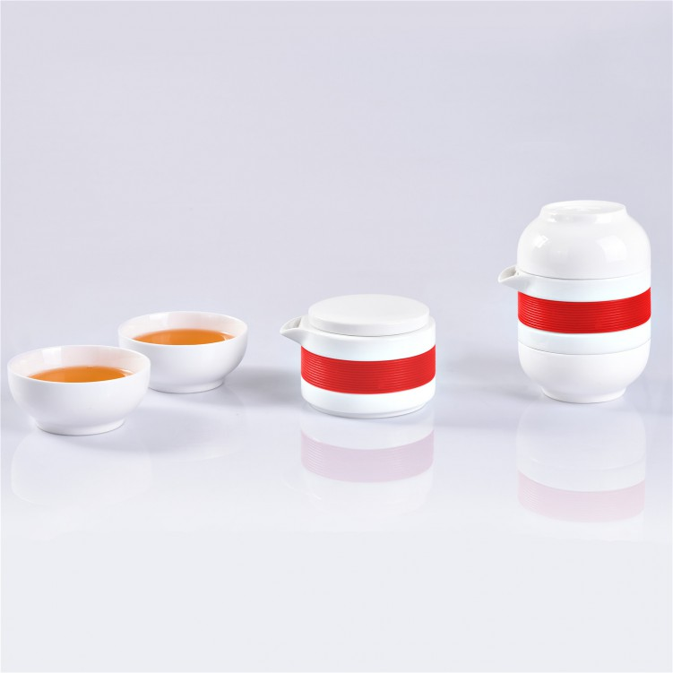 Hua Deng Kung Fu Mini Drinking Travel Tea Mug Porcelain Tea Cup Set with Portable Bag