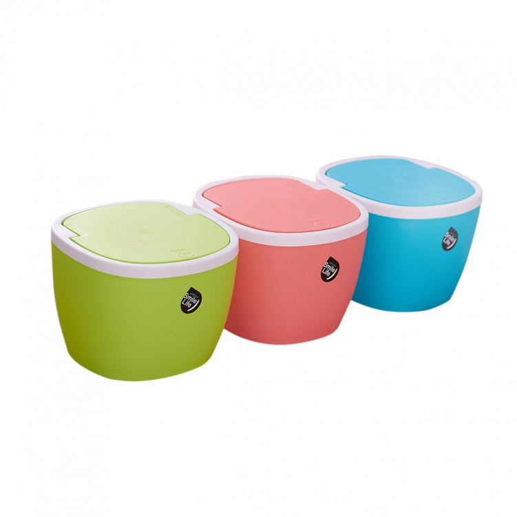 PP Desktop Small Plastic Waste Bin with Swing Lid