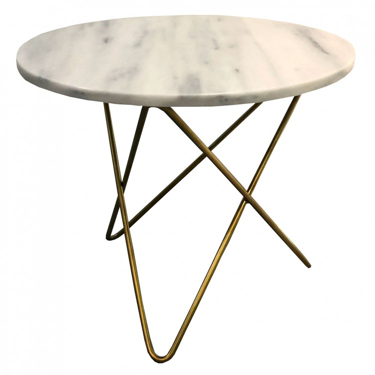 LESSO HOME Round Marble Top Coffee Table, Metal Base