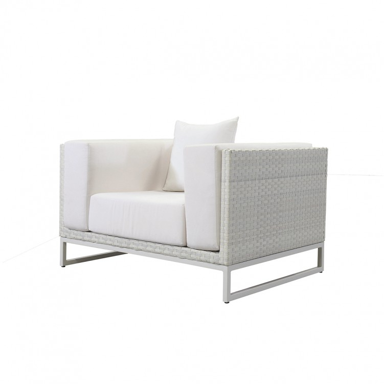 LESSO HOME 1 Seater Sleeper Sofa, White Rattan and Fabric