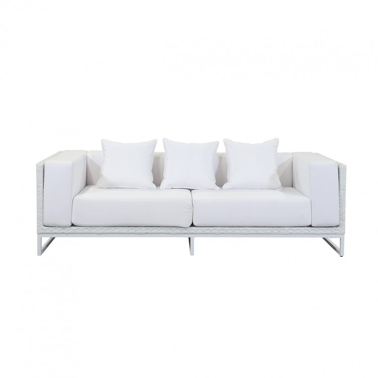 LESSO HOME 3 Seater Sleeper Sofa, White Rattan and Fabric