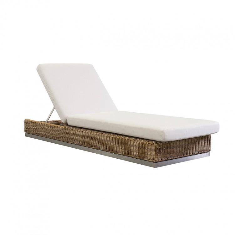 LESSO HOME Rattan Sun Lounger, White Fabric