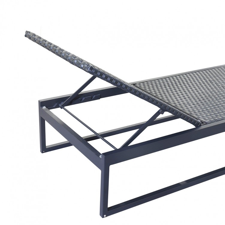 LESSO HOME Black Rattan Sun Lounger