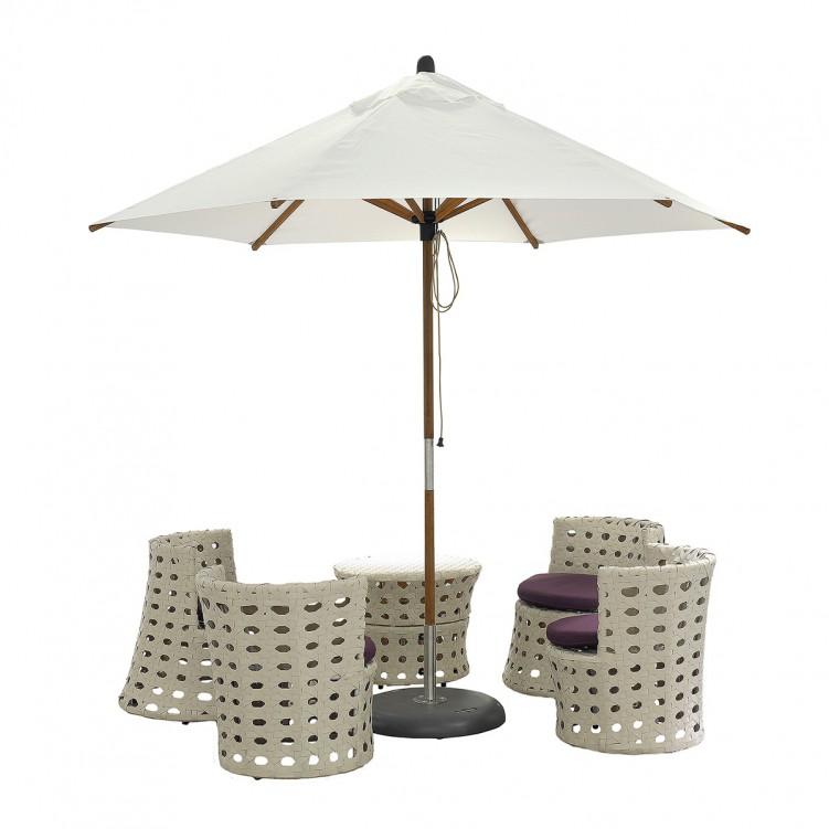 LESSO HOME 2.7M Patio Market Umbrella Beige, Bamboo Frame