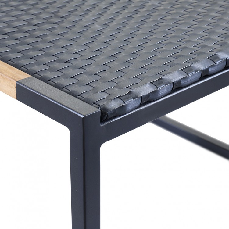 LESSO HOME Rattan Coffee Table, Black Stainless Steel Frame